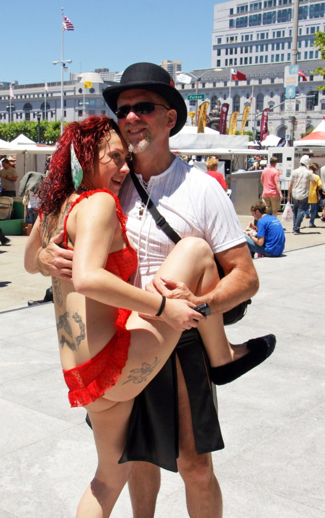 The photographer gets a full-body hug.
