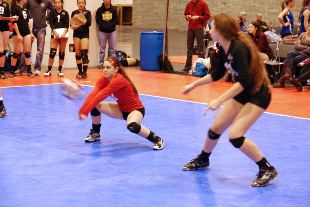 Strong, flexible knees are a must for a volleyball player.
