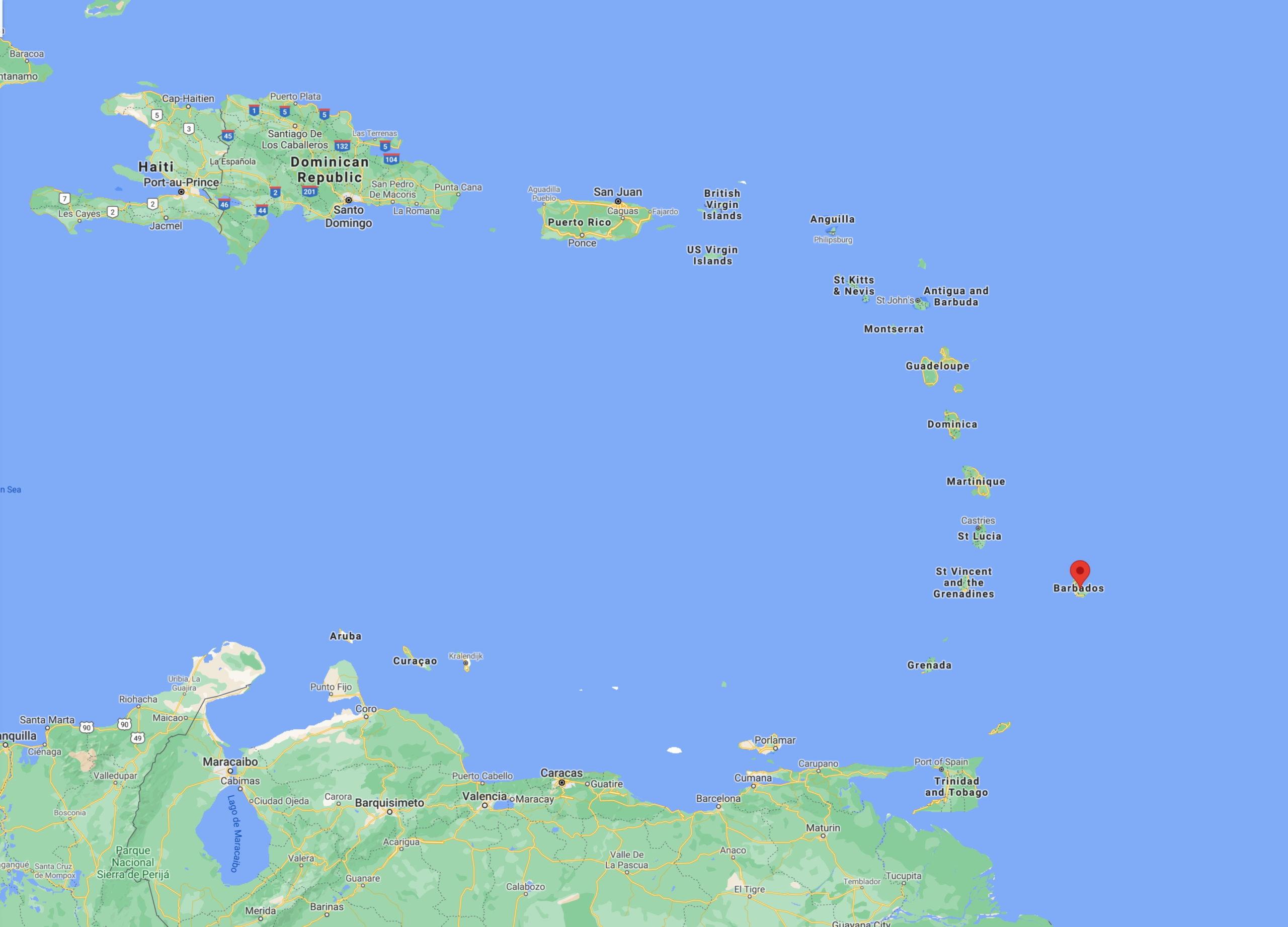 The tiny island of Barbados.