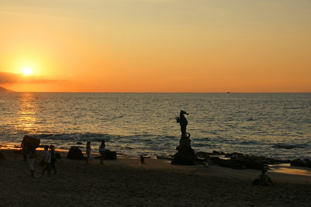 The sun setting in Puerto Vallarta, Mexico.